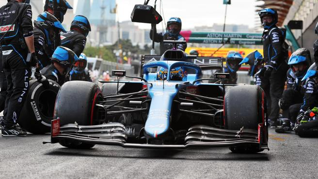 Fernando Alonso, coming out of the pits