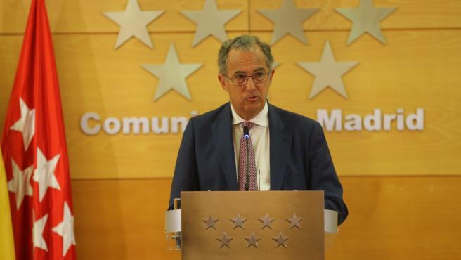 El portavoz del Gobierno de la Comunidad de Madrid, Enrique Ossorio, tras la reunión del Consejo de Gobierno.