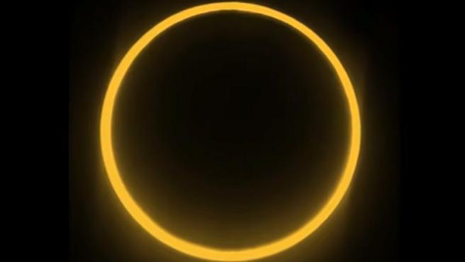 El eclipse total de sol forma el clásico anillo de fuego sobre Groenlandia.