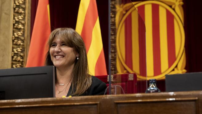 La presidenta del Parlament, Laura Borràs (JxCat), durante un pleno en el hemiciclo.