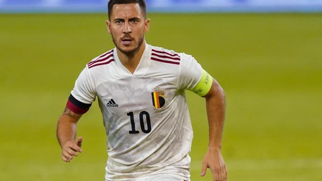 Hazard, en un partido de la selección belga.