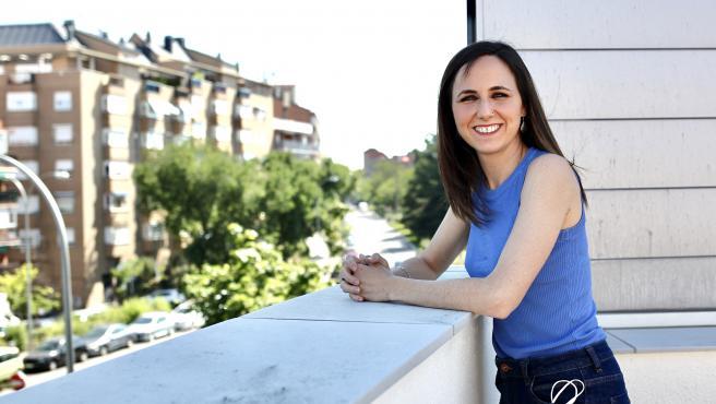 La ministra Ione Belarra, en la sede de Podemos.
