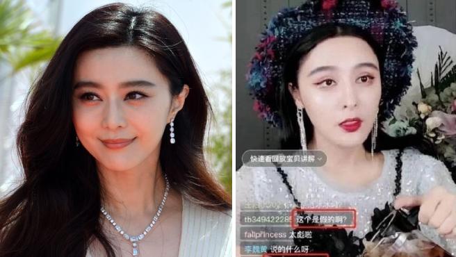 La actriz Fan Bingbing y su doble Chen Xinling en un directo.