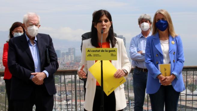 La portavoz y secretaria general adjunta de ERC, Marta Vilalta, junto a los líderes del partido en Barcelona y en Sant Cugat, Ernest Maragall y Mireia Ingla.