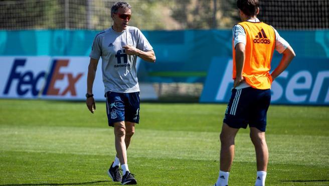 Luis Enrique, en un entrenamiento de la selección.