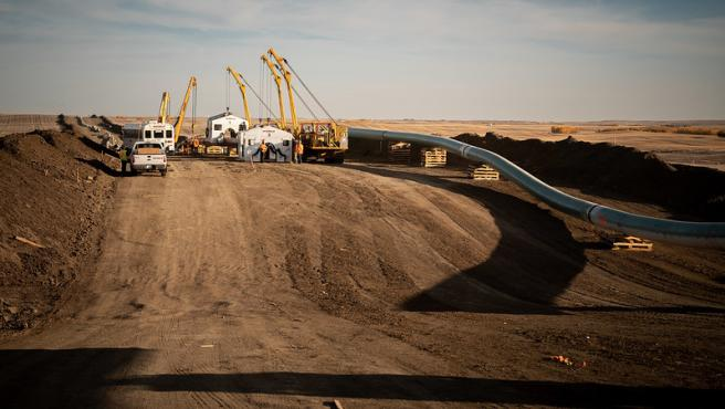 Obras del oleoducto Keystone XL en Alberta, Canadá, en octubre de 2020.