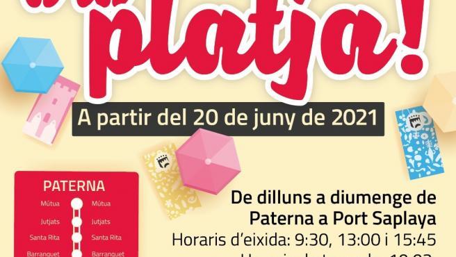 Paterna pone en marcha el 'Bus a la playa' el próximo 20 de junio