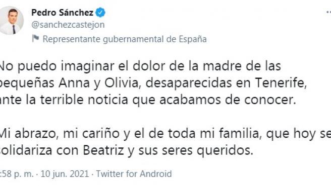 Pedro Sánchez transmite su cariño a la familia de Anna y Olivia.