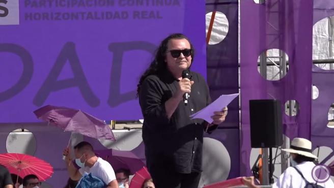 El candidato crítico a liderar Podemos, Fernando Barredo, este sábado en la cuarta Asamblea Ciudadana del partido.