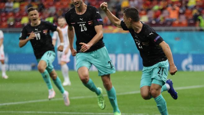 Austria celebra un gol ante Macedonia.