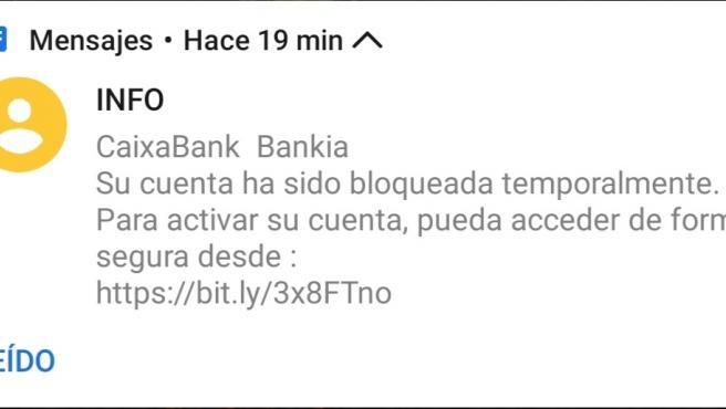 SMS falso haciéndose pasar por CaixaBank.