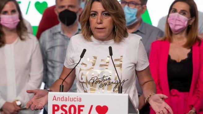 Susana Díaz da explicaciones tras perder las primarias del PSOE andaluz.