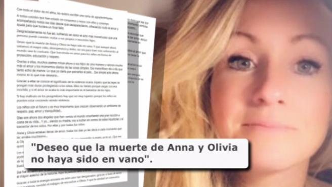 """Beatriz Zimmermann, madre de Anna y Olivia, ha escrito una carta en la que ha destacado que se conozca el significado de la 'violencia vicaria' como consecuencia de la muerte de sus hijas y espera que a partir de este trágico suceso las leyes """"se pongan más duras protegiendo a los niños""""."""