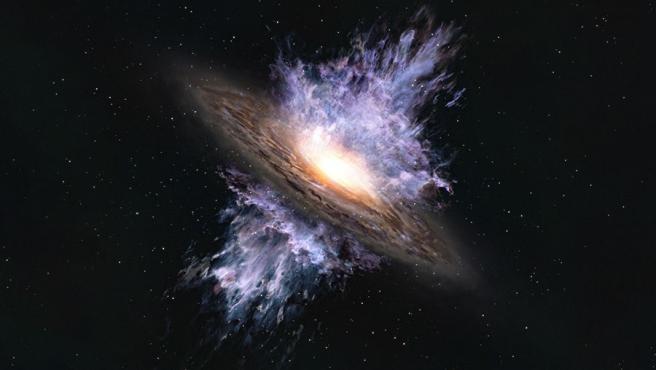 Impresión artística de un viento galáctico impulsado por un agujero negro supermasivo ubicado en el centro de una galaxia.