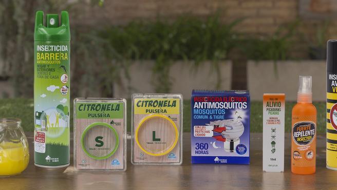 Surtido de insecticidas y repelentes, disponibles en el lineal de Mercadona.