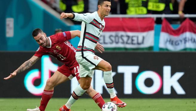 Cristiano Ronaldo, durante el partido entre Portugal y Hungría.