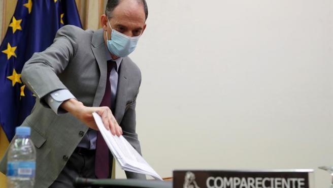 El inspector jefe de la Policía Nacional y responsable de la investigación sobre la trama de corrupción Gürtel en el PP, Manuel Morocho, comparece en la comisión del Congreso de los Diputados que investiga la operación de espionaje Kitchen, este jueves en Madrid.
