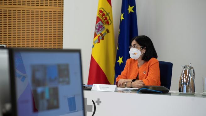 La ministra de Sanidad, Carolina Darias, en el Consejo Interterritorial.