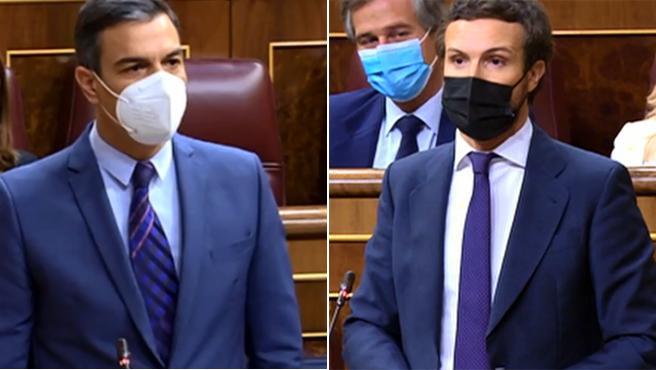 Pedro Sánchez y Pablo Casado, durante sus intervenciones en la sesión de control en el Congreso.