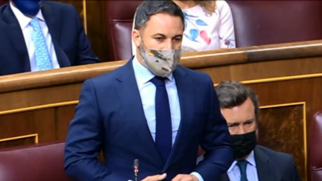 El líder de Vox, Santiago Abascal, durante su intervención en la sesión de control en el Congreso.