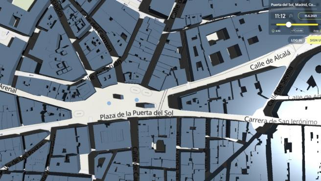 Así se ve la Puerta del Sol en la aplicación a las 11:12.