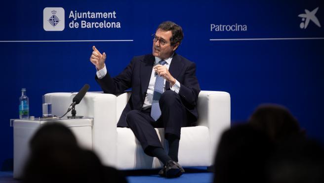 """El presidente de la CEOE, Antonio Garamendi, interviene en la inauguración de la segunda jornada de la XXXVI Reunión del Cercle d""""Economia, a 17 de junio de 2021, en Barcelona, Cataluña, (España)."""