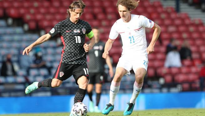 Modric y Kral, durante el Croacia - República Checa de la Eurocopa