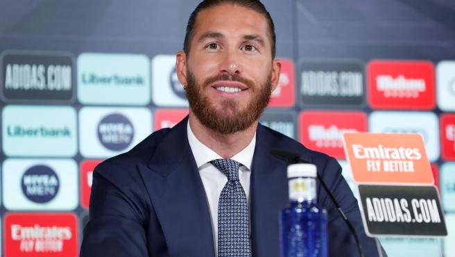 Sergio Ramos, en la rueda de prensa de su despedida del Real Madrid