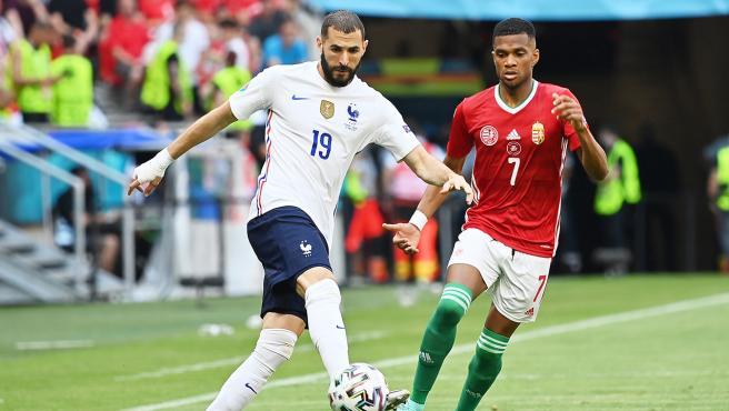 Karim Benzema, en el Hungría - Francia de la Eurocopa