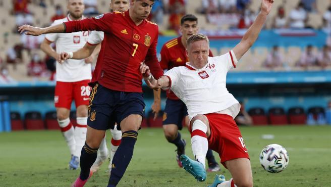 Morata en el partido de España contra Polonia.