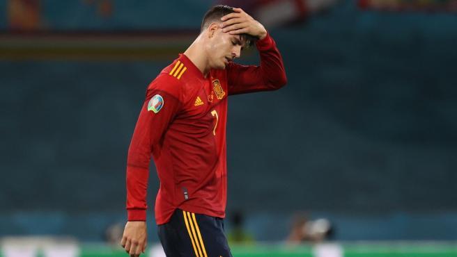 Morata, en el partido contra Polonia.