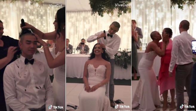Tres secuencias del vídeo de TikTok.
