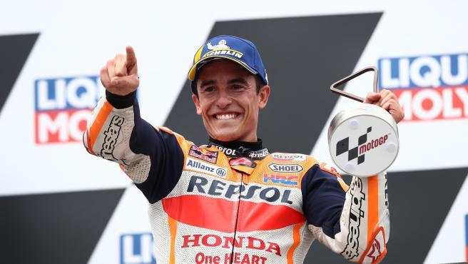 Marc Marquez, on the podium of the German GP