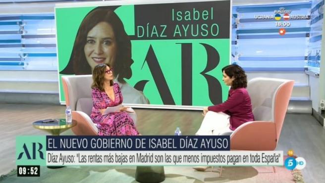 Ana Rosa Quintana entrevista a Isabel Díaz Ayuso.