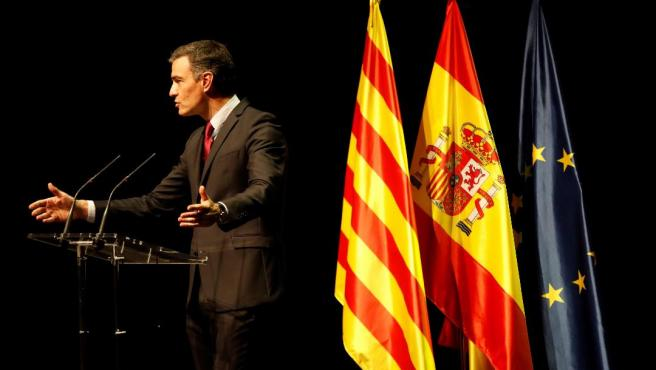 Pedro Sánchez durante su acto en Barcelona