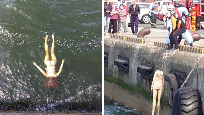 Una muñeca hinchable aparece flotando en la bahía de Hachinohe, Japón.