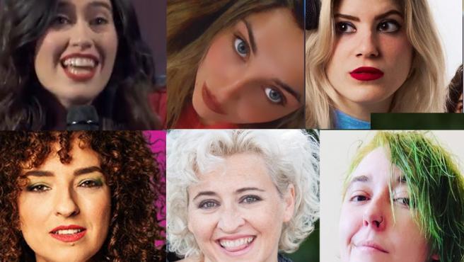 Pilar de Francisco, Marina Lobo, Paula Púa, Virginia Riezu, Esther Gimeno y Vera Montessori, cómicas.