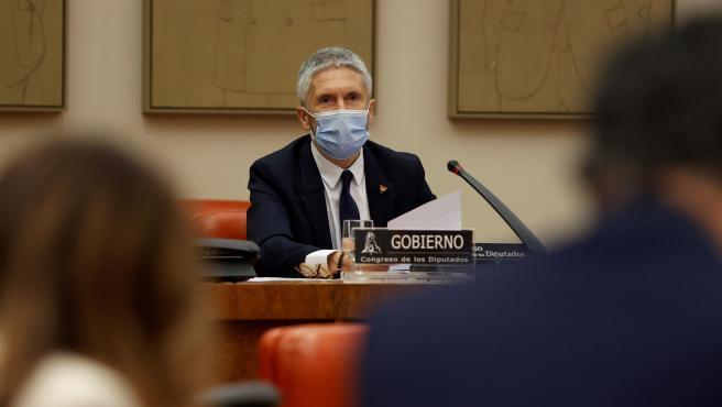 El ministro del Interior, Fernando Grande-Marlaska, en la comisión de Interior este viernes.