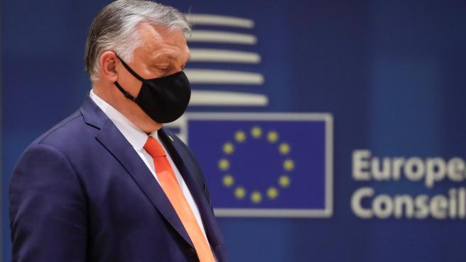 El primer ministro húngaro, Viktor Orban, durante la cumbre de jefes de Estado y de Gobierno de la UE, en Bruselas.