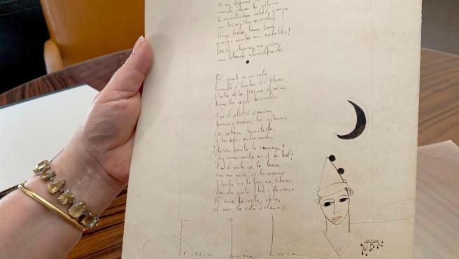 Vista del único manuscrito que se conoce del primer poema del Romancero Gitano, de Federico García Lorca.