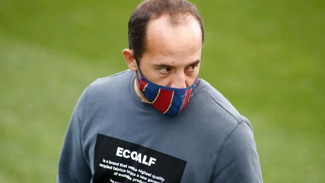 Lluís Cortés, durante un partido del Barça femenino