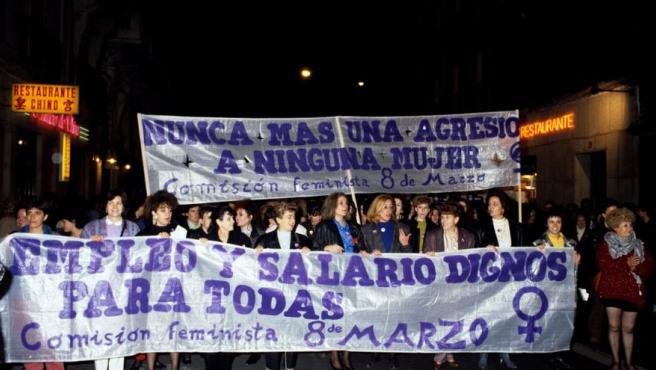 Manifestación en Madrid con motivo de la celebración del 8-M en 1989.