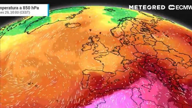Mapa de temperaturas de Meteored.