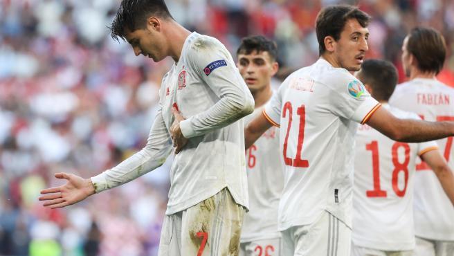 Morata celebra su gol crucial ante Croacia.
