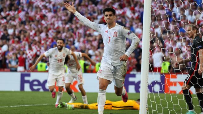 Álvaro Morata, durante el Croacia - España