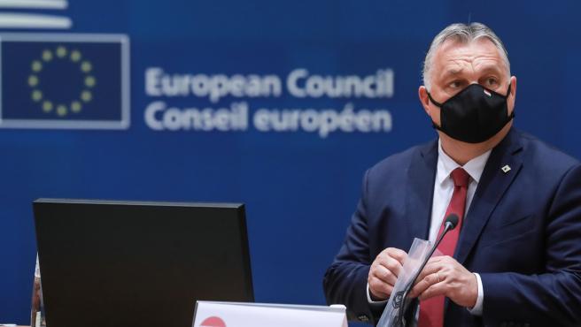 El Primer Ministro húngaro, Viktor Orbán, en el Consejo Europeo