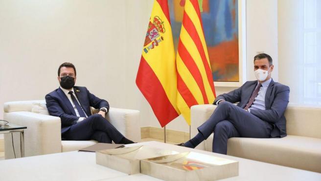 Pedro Sänchez y Pere Aragonès, reunidos en la Moncloa.