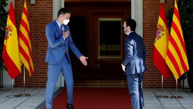 Pedro Sánchez y Pere Aragonès se reúnen en La Moncloa.