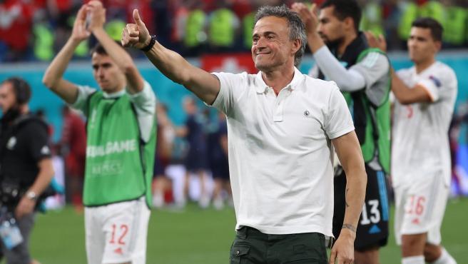 Luis Enrique celebra el pase de España a semifinales de la Eurocopa