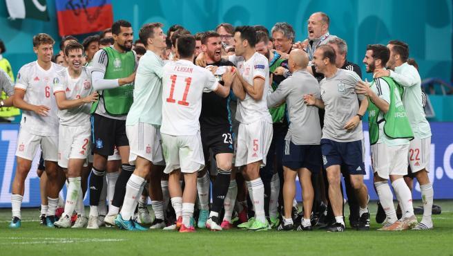 La Selección española celebra el pase a semifinales de la Eurocopa.